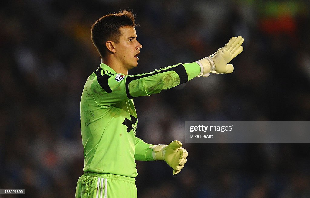 Karl Darlow of Nottingham Forest in action during the Sky Bet Championship match between Brighton & Hove Albion and Nottingham Forest at Amex Stadium on October 5, 2013 in Brighton, England.