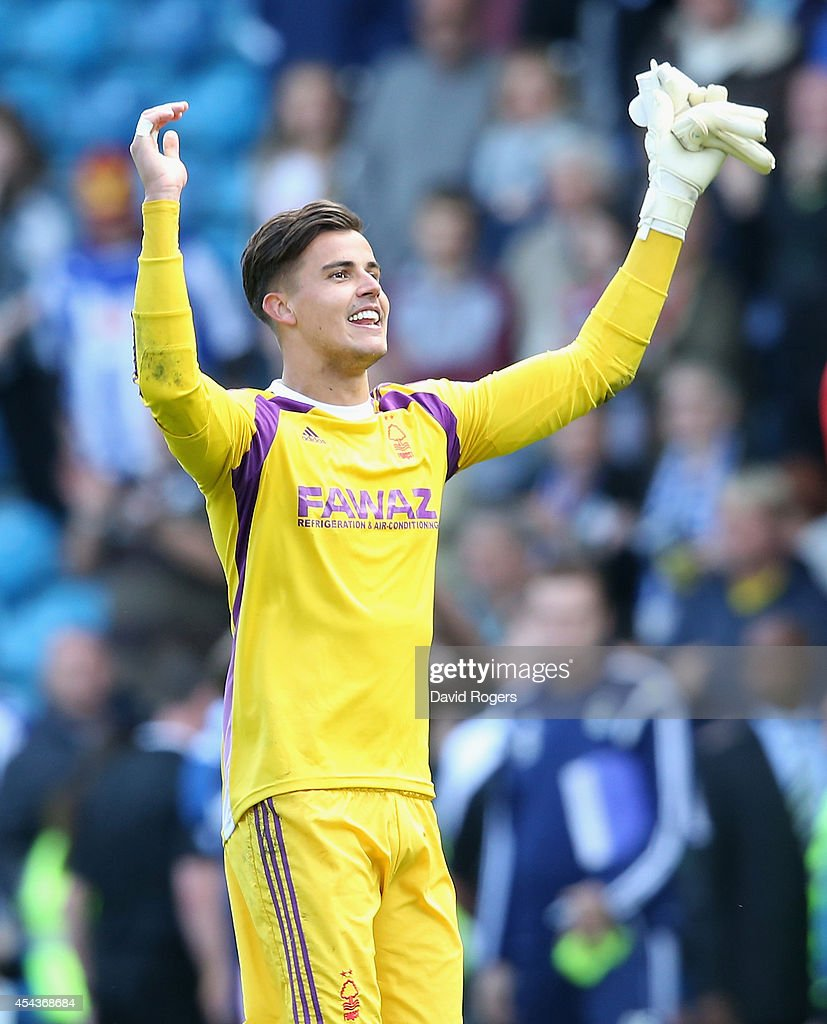 Karl Darlow, the Nottingham Forest keeper, who made serveral match saving saves, celebrate their victory after the Sky Bet Championship match between Sheffield Wednesday and Nottingham Forest at Hillsborough Stadium on August 30, 2014 in Sheffield, England.