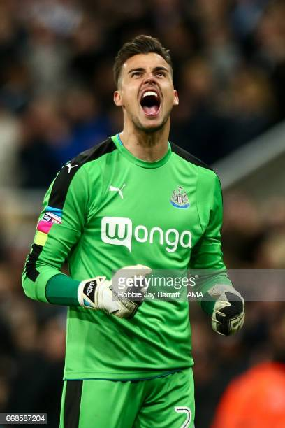 Karl Darrow of Newcastle United celebrates during the Sky Bet Championship match between Newcastle United and Leeds United at St James' Park on April...