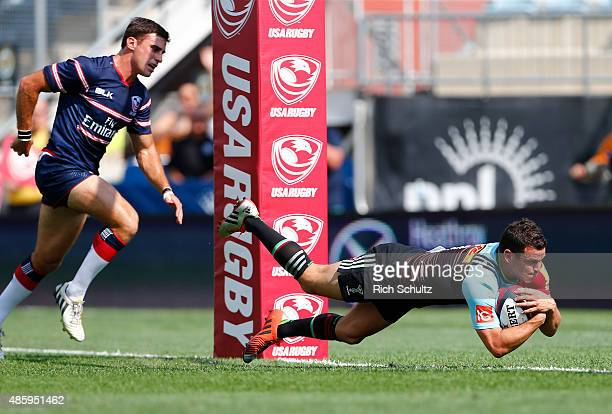 Karl Dickson of Harlequins scores a try against the USA Eagles in an international friendly match against the USA Eagles at PPL Park on August 30...