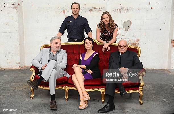 Karl Fischer Maximilian Brueckner Ursula Strauss Patricia Aulitzky and Wolfgang Boeck pose for the film 'Pregau' at Sargfabrik on October 9 2015 in...