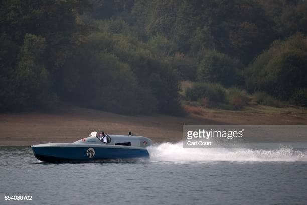 Karl FoulkesHalbard pilots the restored Blue Bird K3 hydroplane powerboat during a test run at Bewl Water on September 26 2017 near Maidstone England...