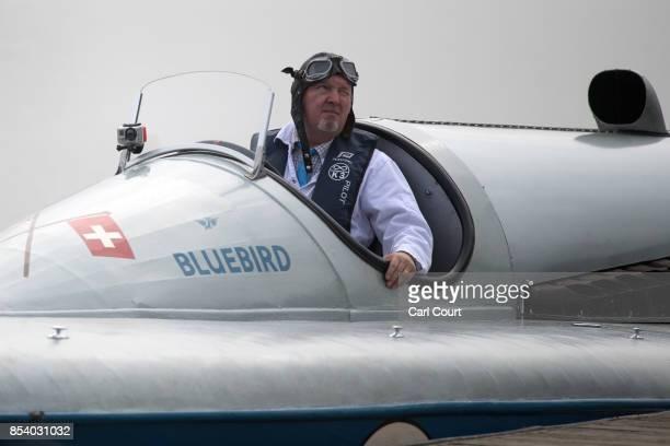 Karl FoulkesHalbard pilots the restored Blue Bird K3 hydroplane powerboat ahead of a test run at Bewl Water on September 26 2017 near Maidstone...