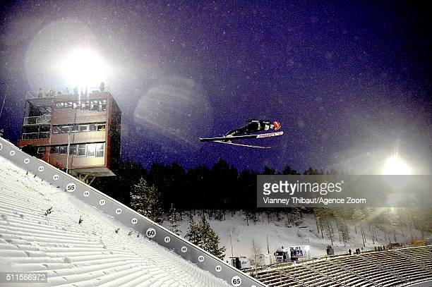 Karl Geiger of Germany takes 2nd place during the FIS Nordic World Cup Men's Ski Jumping HS130 on February 21 2016 in Lahti Finland