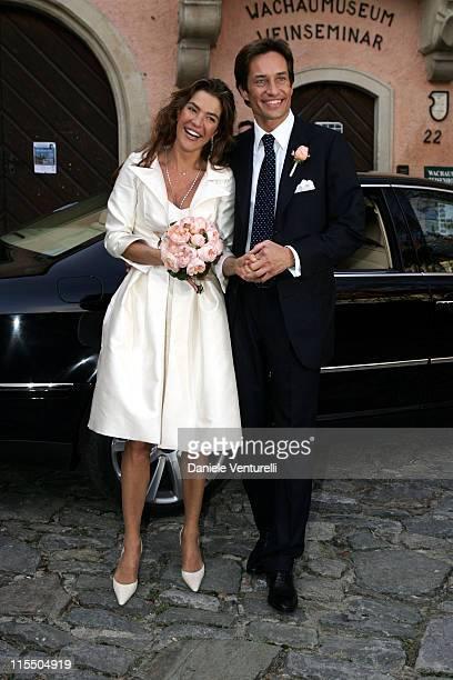 Karl Hainz Grasser and Fiona Swarovski during Karl Hainz Grasser and Fiona Swarovski Wedding at Weissenkirchen in Weissenkirchen Wien Austria