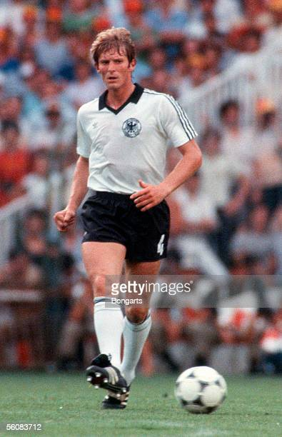 Karl Heinz Foerster of Germany in action during the World Cup Final match between Italy and Germany at the Bernabeu Stadium on July 11 1982 in Madrid...