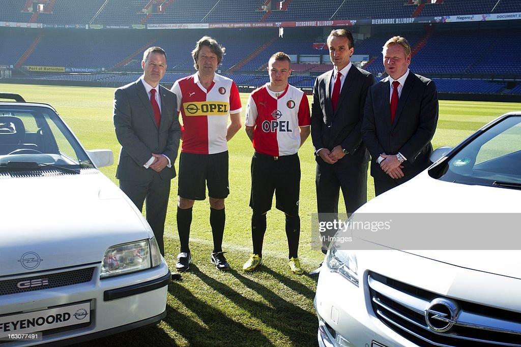 Karl Howkins, Bennie Wijnstekers, Jordy Clasie, Mark Koevermans, Ronald Koeman during the new sponsor presentation of Feyenoord at stadium De Kuip on march 4, 2013 in Rotterdam, The Netherlands
