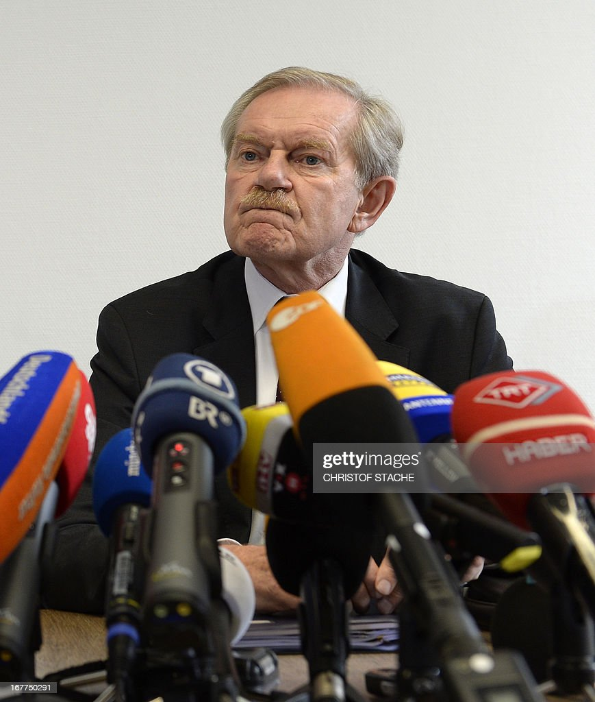 Karl Huber, President of the Higher Regional Court Munich (Oberlandesgerichtes Muenchen), attends a press conference on April 29, 2013 in Munich after the lottery for the reserved press seats for the trial against the sole survivor of the far-right militants NSU and four other alleged neo-Nazi accomplices, to take place on May 6, 2013.