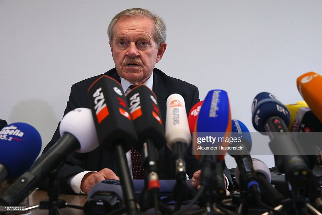 Karl Huber, President of the Oberlandgericht Muenchen court, speaks to the media following the lottery draw for the 50 media spots inside the courtroom for the upcoming NSU murder trial on April 29, 2013 in Munich, Germany. This the second accreditation process for the trial, which manay analysts are dubbing the trial of the decade and is scheduled to begin May 6, after lawsuits filed by Turkish media were upheld and the Munich court responded by redoing all accreditations. Eight of the ten victims of the NSU neo-Nazi murder trio were Turkish and one was Greek, and Turkish and Greek media are now guaranteed a small portion of the 50 seats reserved for media after no foreign media were given seats in the first accreditation process.