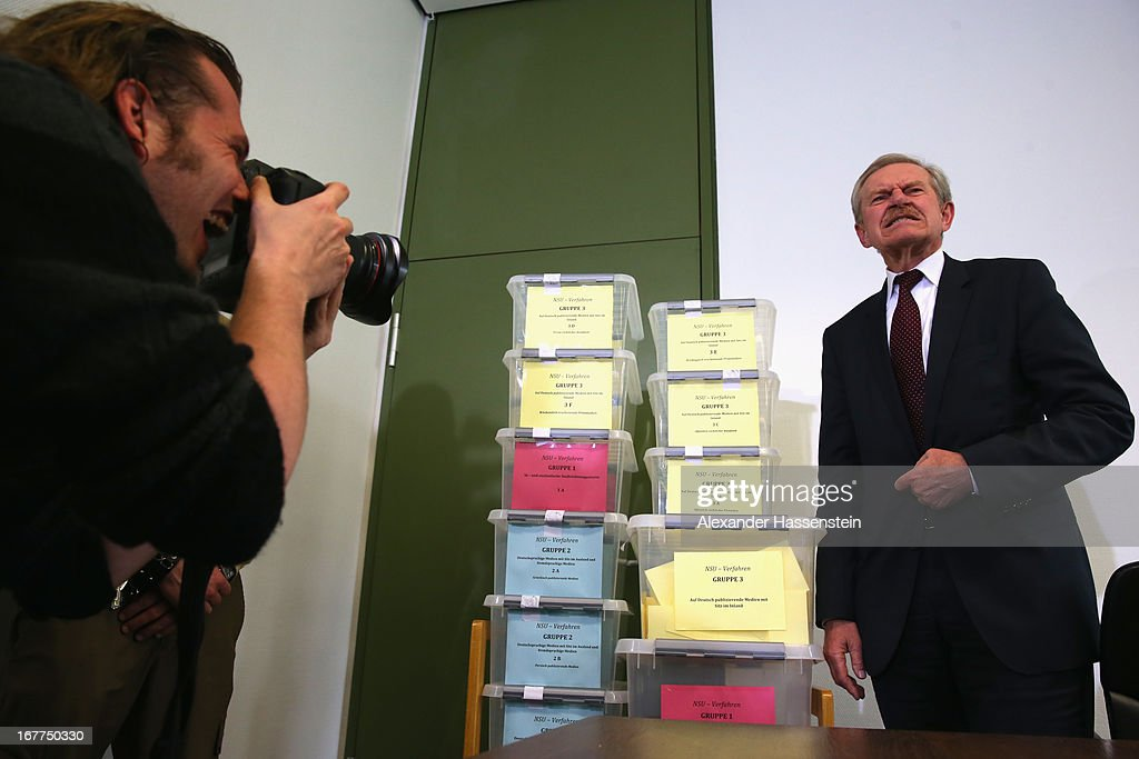 Karl Huber, President of the Oberlandgericht Muenchen court stands next to the lottery boxes after a press conference following the lottery draw for the 50 media spots inside the courtroom for the upcoming NSU murder trial on April 29, 2013 in Munich, Germany. This the second accreditation process for the trial, which manay analysts are dubbing the trial of the decade and is scheduled to begin May 6, after lawsuits filed by Turkish media were upheld and the Munich court responded by redoing all accreditations. Eight of the ten victims of the NSU neo-Nazi murder trio were Turkish and one was Greek, and Turkish and Greek media are now guaranteed a small portion of the 50 seats reserved for media after no foreign media were given seats in the first accreditation process.