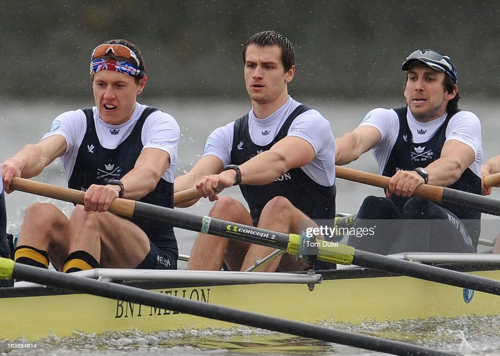 Karl Hudspith, Paul Bennett and Sam O'Connor of The Oxford Blue Boat in action during the training race against German Eight on the River Thames on March 17, 2013 in London, England.