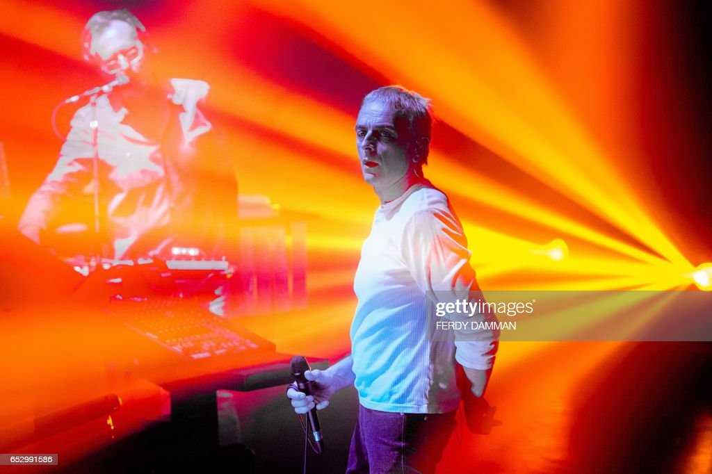 Karl Hyde (R) and Rick Smith of British group Underworld perform at TivoliVredenburg in Utrecht on March 13, 2017. / AFP PHOTO / ANP / Ferdy Damman / Netherlands OUT