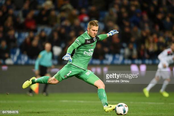 Karl Johan Johnsson of Guingamp during the French Ligue 1 match between Montpellier and Guingamp at Stade de la Mosson on March 4 2017 in Montpellier...