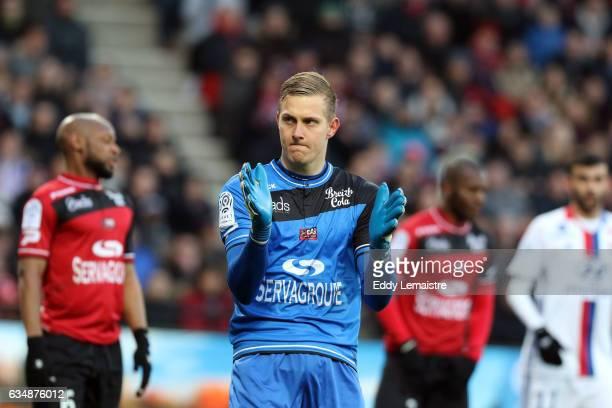 Karl Johan Johnsson of Guingamp during the Ligue 1 match between En Avant Guingamp and Olympique Lyonnais Lyon at Stade du Roudourou on February 11...