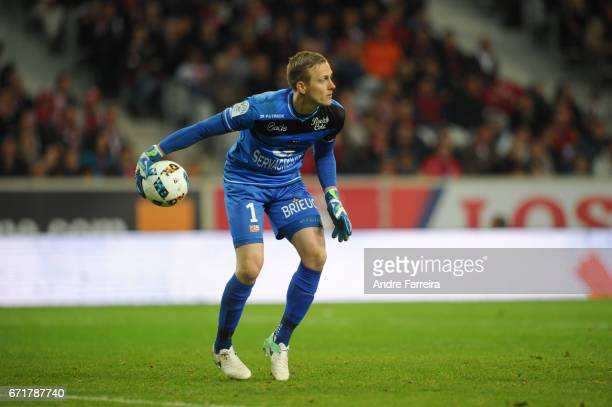 Karl Johan Johnsson of Guingamp during the Ligue 1 match between Lille OSC and EA Guingamp at Stade PierreMauroy on April 22 2017 in Lille France