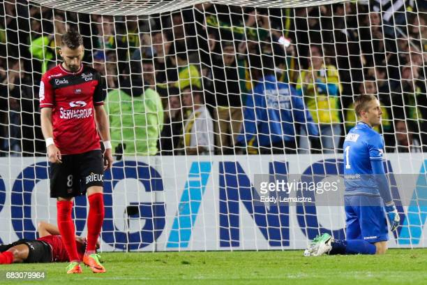 Karl Johan Jonhsson looks dejected of Guingamp during the Ligue 1 match between FC Nantes and EA Guingamp at Stade de la Beaujoire on May 14 2017 in...