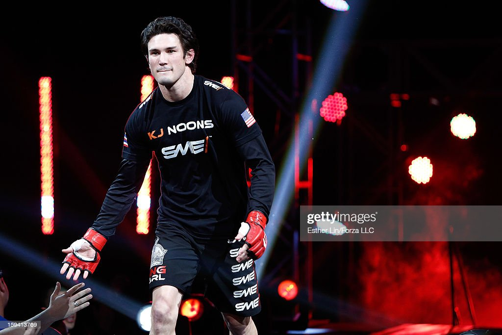 Karl 'KJ' Noons enters the arena before his lightweight bout against Ryan Couture during the Strikeforce event on January 12, 2013 at Chesapeake Energy Arena in Oklahoma City, Oklahoma.