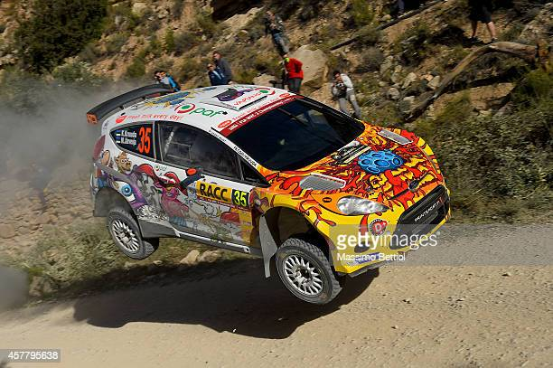 Karl Kruuda of Estonia and Martin Jarveoja of Estonia crash their Ford Fiesta S2000 during Day One of the WRC Spain on October 24 2014 in Salou Spain