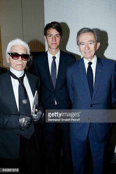 Karl Lagerfeld Alexandre Arnault and Bernard Arnault attend the LVMH Prize 2016 Young Fashion Designer at Fondation Louis Vuitton on June 16 2016 in...