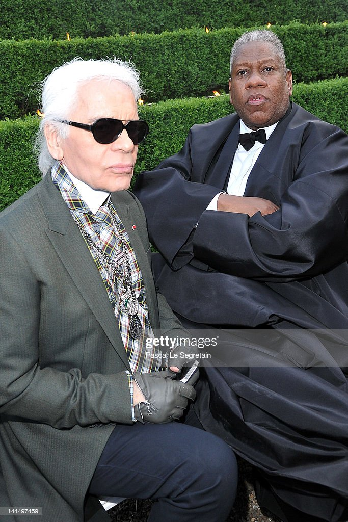 Karl Lagerfeld and <a gi-track='captionPersonalityLinkClicked' href=/galleries/search?phrase=Andre+Leon+Talley&family=editorial&specificpeople=171165 ng-click='$event.stopPropagation()'>Andre Leon Talley</a> pose during the Chanel 2012/13 Cruise Collection at Chateau de Versailles on May 14, 2012 in Versailles, France.