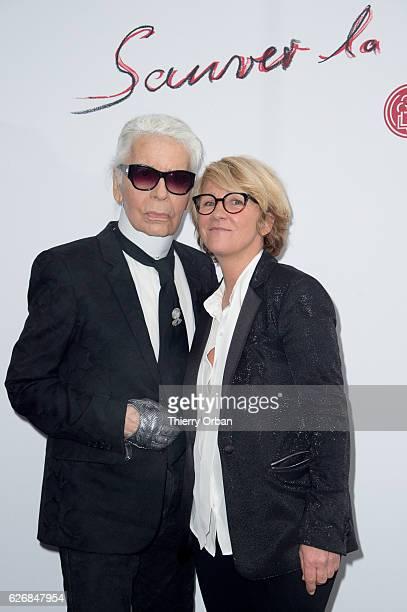 Karl Lagerfeld and Ariane Massenet attend the diner 'sauver la vie' Eric Pfrunder Hosts 'Sauver La Vie' Diner for Paris Descartes Fondation at...