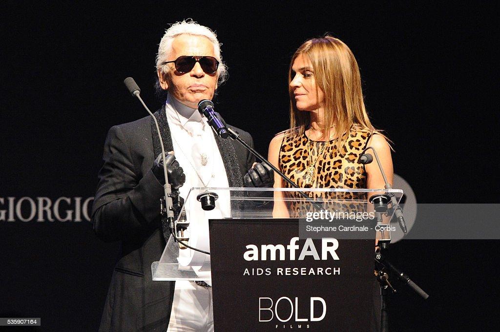 Karl Lagerfeld and Carine Roitfeld attend the '2010 amfAR's Cinema Against AIDS Gala'