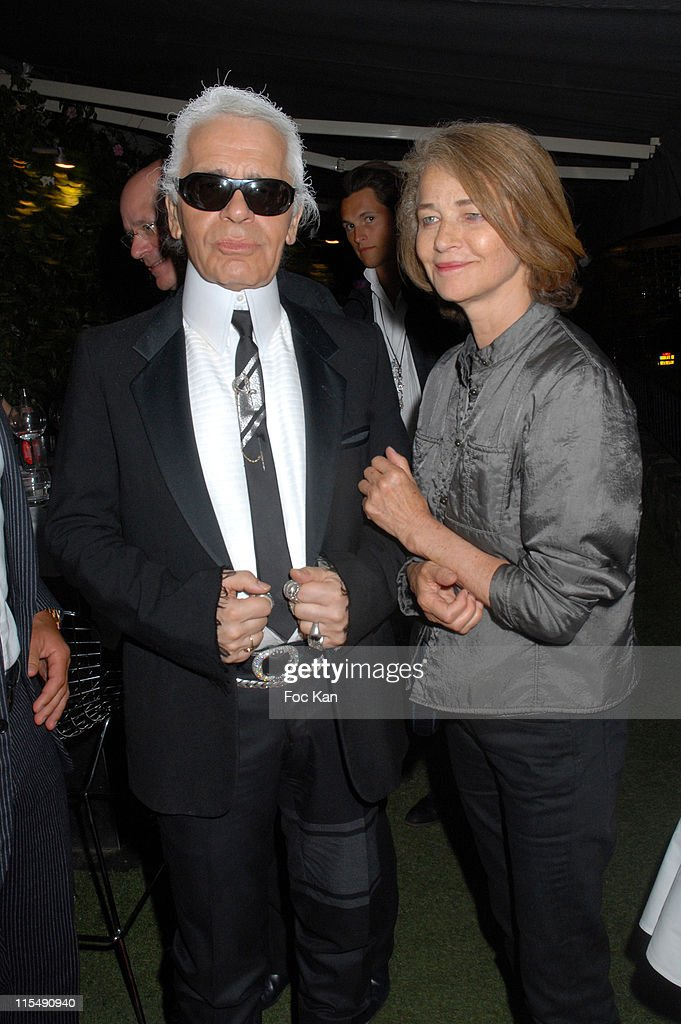 Karl Lagerfeld and <a gi-track='captionPersonalityLinkClicked' href=/galleries/search?phrase=Charlotte+Rampling&family=editorial&specificpeople=212770 ng-click='$event.stopPropagation()'>Charlotte Rampling</a> attend the DJ <a gi-track='captionPersonalityLinkClicked' href=/galleries/search?phrase=Martin+Solveig&family=editorial&specificpeople=3964744 ng-click='$event.stopPropagation()'>Martin Solveig</a> Mix Experience Party VIP Room on August 19, 2007 in St Tropez, France.