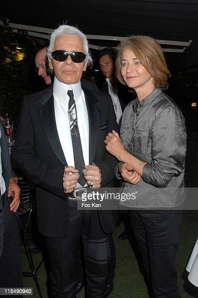 Karl Lagerfeld and Charlotte Rampling attend the DJ Martin Solveig Mix Experience Party VIP Room on August 19 2007 in St Tropez France