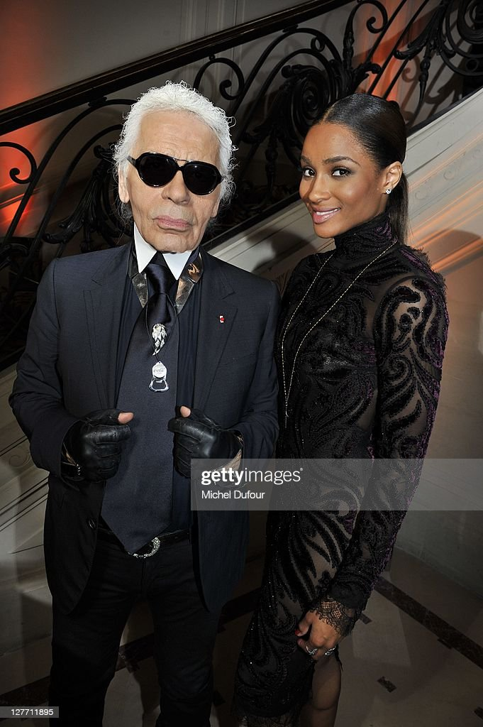 <a gi-track='captionPersonalityLinkClicked' href=/galleries/search?phrase=Karl+Lagerfeld+-+Fashion+Designer&family=editorial&specificpeople=4330565 ng-click='$event.stopPropagation()'>Karl Lagerfeld</a> and Ciara attend the Hogan by <a gi-track='captionPersonalityLinkClicked' href=/galleries/search?phrase=Karl+Lagerfeld+-+Fashion+Designer&family=editorial&specificpeople=4330565 ng-click='$event.stopPropagation()'>Karl Lagerfeld</a> Ready to Wear Spring / Summer 2012 show and cocktail during Paris Fashion Week at Hotel Salomon de Rothschild on September 30, 2011 in Paris, France.