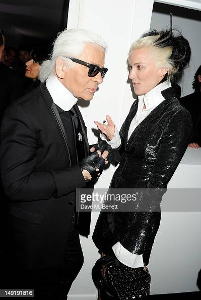 Karl Lagerfeld and Daphne Guinness attend a private cocktail party celebrating the launch of Karl Lagerfeld's collections 'KARL ' and 'KARL LAGERFELD...
