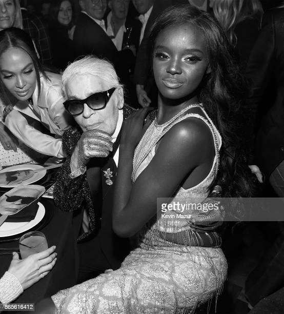 Karl Lagerfeld and Duckie Thot attend V Magazine's intimate dinner in honor of Karl Lagerfeld at The Top of The Standard on October 23 2017 in New...