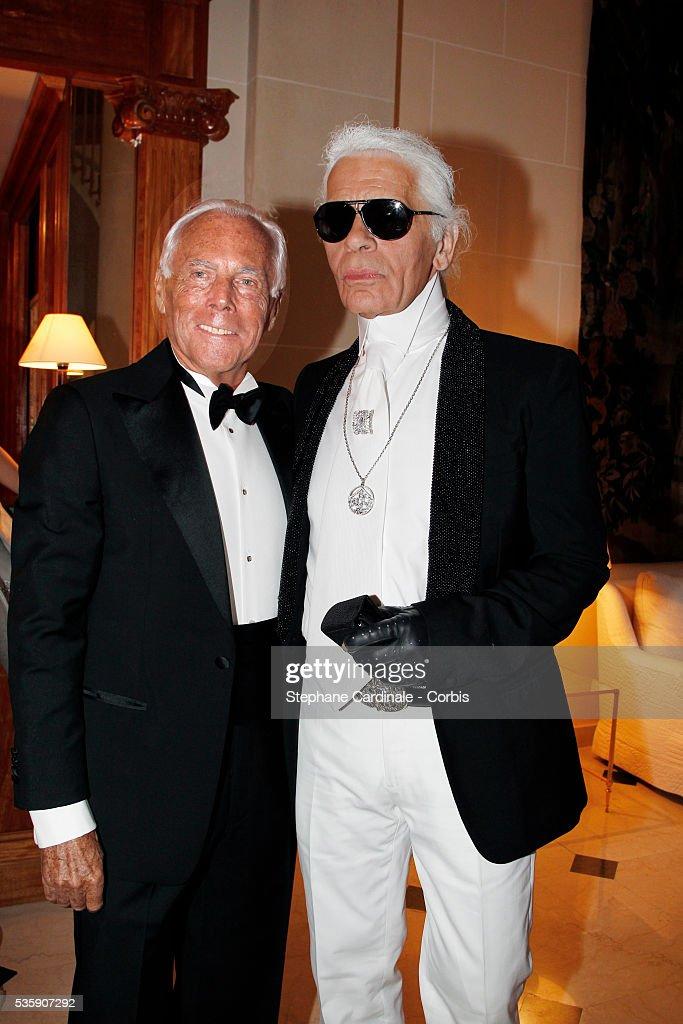 Karl Lagerfeld and Giorgio Armani attend the '2010 amfAR's Cinema Against AIDS Gala'