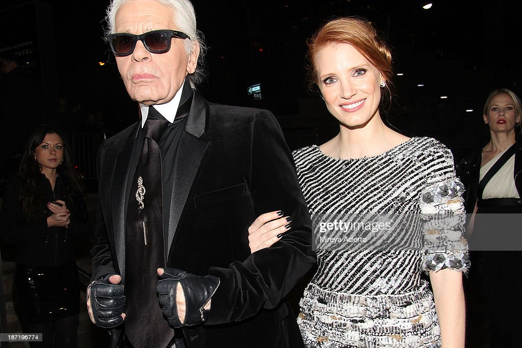 Karl Lagerfeld and <a gi-track='captionPersonalityLinkClicked' href=/galleries/search?phrase=Jessica+Chastain&family=editorial&specificpeople=653192 ng-click='$event.stopPropagation()'>Jessica Chastain</a> attend An Evening Honoring Karl Lagerfeld at Alice Tully Hall on November 6, 2013 in New York City.