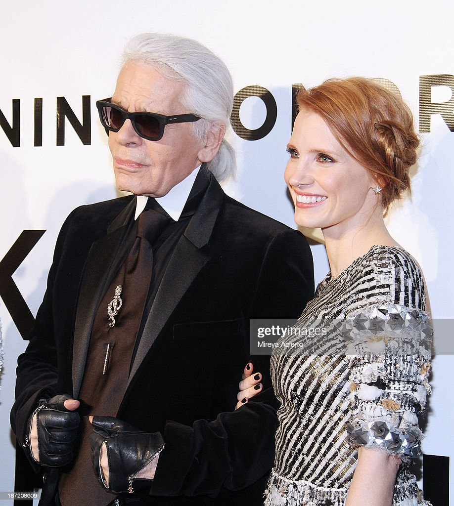 Karl Lagerfeld and Jessica Chastain attend An Evening Honoring Karl Lagerfeld at Alice Tully Hall on November 6, 2013 in New York City.