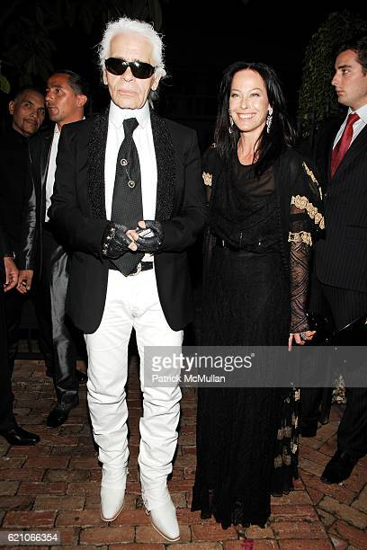Karl Lagerfeld and Lady Amanda Harlech attend CHANEL Private Dinner for KARL LAGERFELD at Casa Tua on May 14 2008 in Miami Beach FL