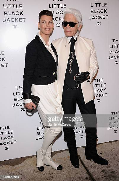 Karl Lagerfeld and Linda Evangelista attend Chanel'sThe Little Black Jacket Event at Swiss Institute on June 6 2012 in New York City