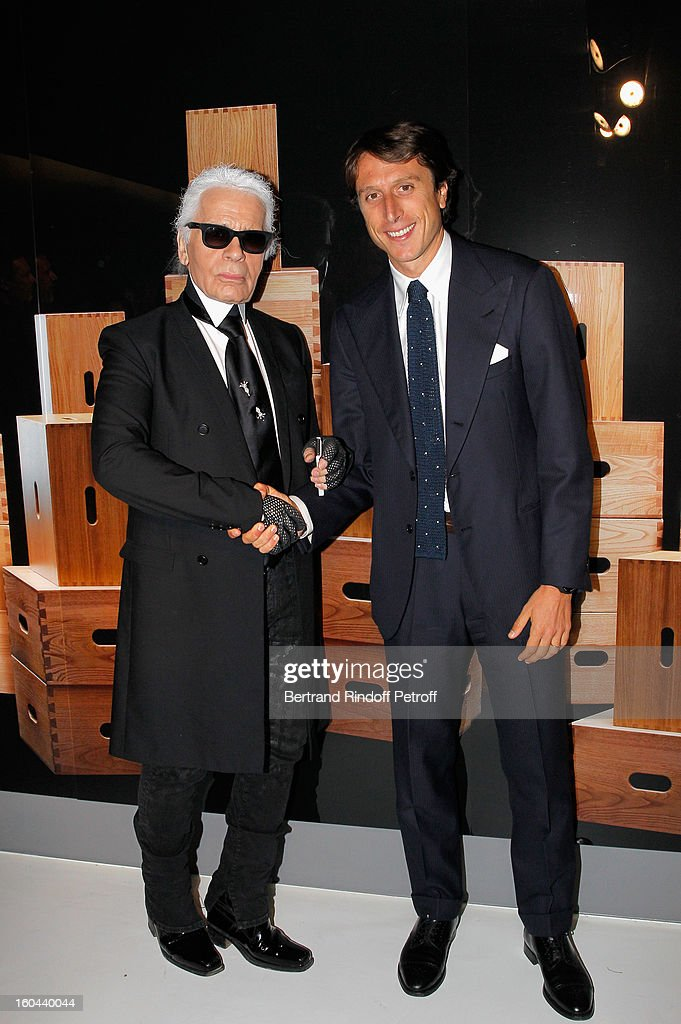 Karl Lagerfeld and Matteo di Montezemolo attend the Karl Lagerfeld Photo Exhibition Preview at the Showroom Cassina on January 31, 2013 in Paris, France.