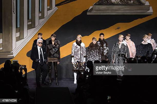 Karl Lagerfeld and models on the runway during the Fendi show as part of Paris Fashion Week Haute Couture Fall/Winter 2015/2016 on July 8 2015 in...