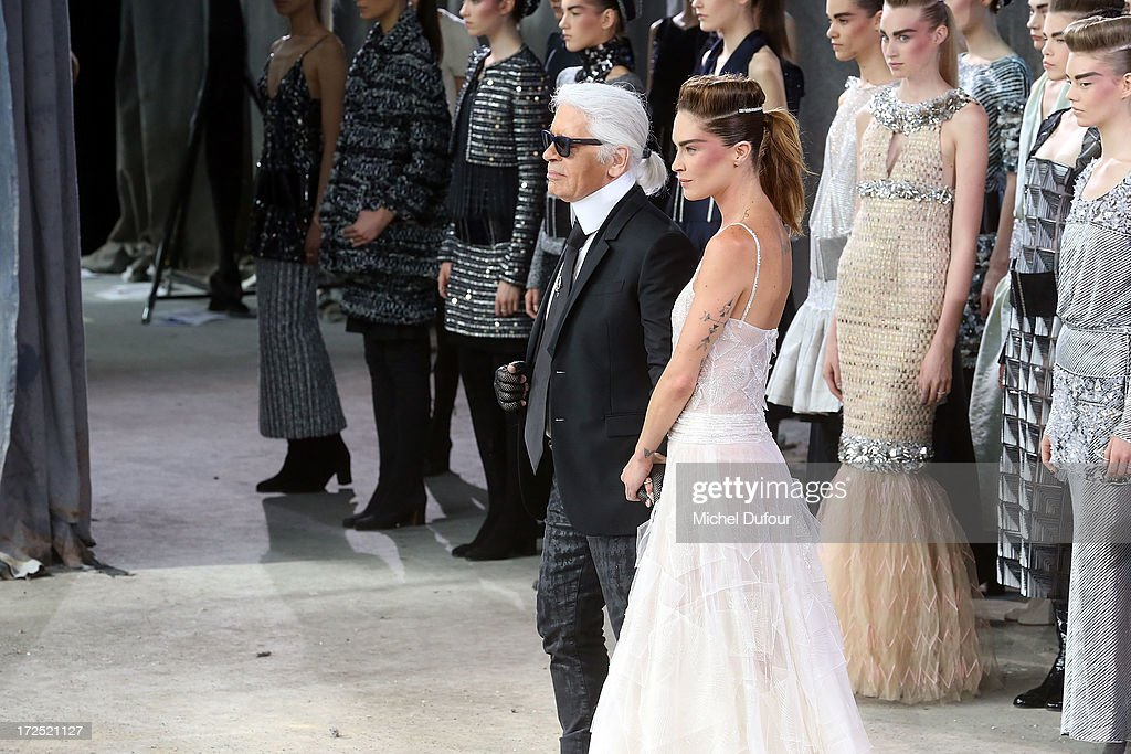 Karl Lagerfeld and models walk the runway during Chanel show as part of Paris Fashion Week Haute-Couture Fall/Winter 2013-2014 at Grand Palais on July 2, 2013 in Paris, France.
