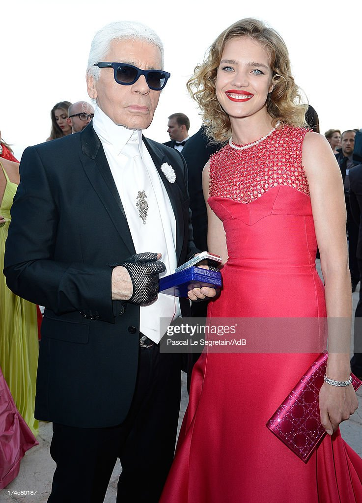 Karl Lagerfeld and Natalia Vodianova attend the cocktail at the 'Love Ball' hosted by Natalia Vodianova in support of The Naked Heart Foundation at Opera Garnier on July 27, 2013 in Monaco, Monaco.