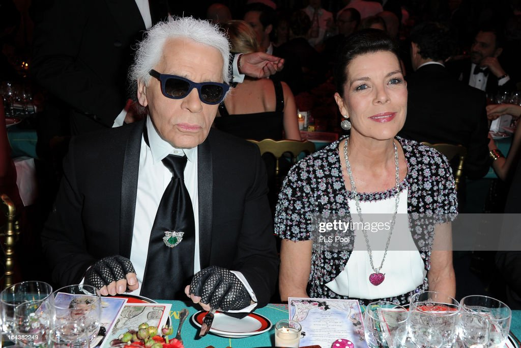 Karl Lagerfeld and Princess Caroline of Hanover attend the 'Bal De La Rose Du Rocher' in aid of the Fondation Princess Grace on the 150th Anniversary of the SBM at Sporting Monte-Carlo on March 23, 2013 in Monte-Carlo, Monaco.