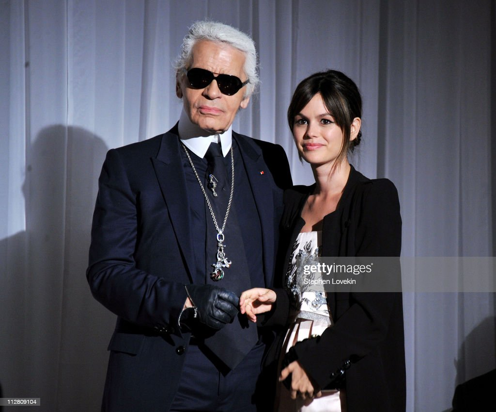 Karl Lagerfeld (L) and Rachel Bilson attend the red carpet premiere of the Magnum Ice Cream Film Series during the Tribeca Film Festival. Created and directed by Lagerfeld and starring Bilson, the films mark the introduction of globally renowned Magnum ice cream in the United States.