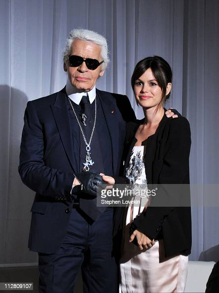 Karl Lagerfeld and Rachel Bilson attend the red carpet premiere of the Magnum Ice Cream Film Series during the Tribeca Film Festival Created and...