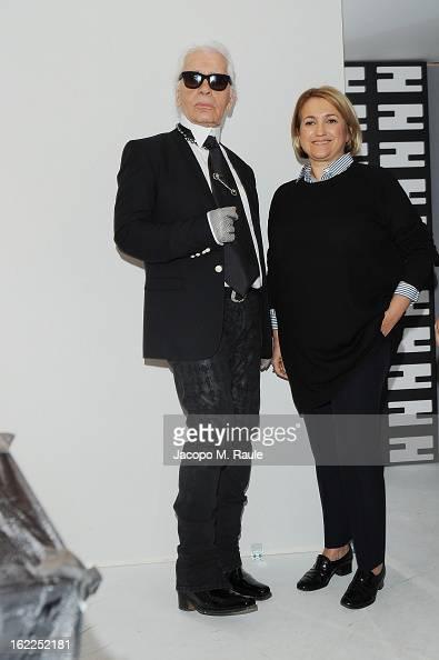 Karl Lagerfeld and Silvia Venturini Fendi attend the Fendi fashion show as part of Milan Fashion Week Womenswear Fall/Winter 2013/14 on February 21...