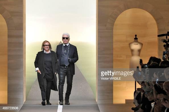 Karl Lagerfeld and Silvia Venturini Fendi walk the runway during the Fendi Ready to Wear show as part of Milan Fashion Week Womenswear Spring/Summer...