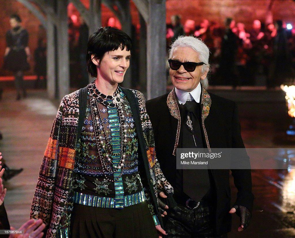 Karl Lagerfeld and Stella Tennant walk the runway at the
