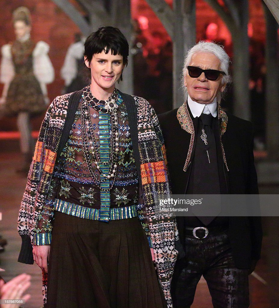 Karl Lagerfeld and Stella Tennant walk the runway at the