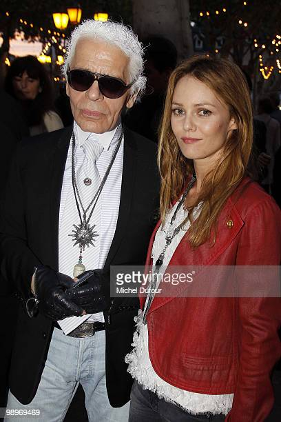 Karl Lagerfeld and Vanessa Paradis play bowling at place des Lices on May 10 2010 in SaintTropez France