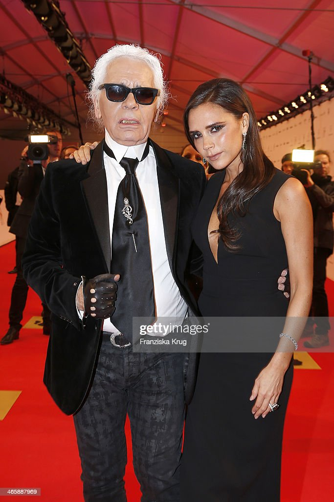 Karl Lagerfeld and Victoria Beckham attend the Bambi Awards 2013 at Stage Theater on November 14, 2013 in Berlin, Germany.