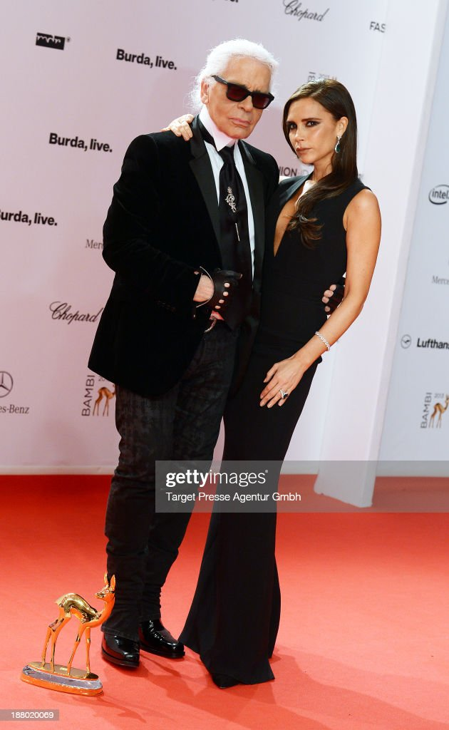 <a gi-track='captionPersonalityLinkClicked' href=/galleries/search?phrase=Karl+Lagerfeld+-+Fashion+Designer&family=editorial&specificpeople=4330565 ng-click='$event.stopPropagation()'>Karl Lagerfeld</a> and Victoria Beckham pose with the Bambi for best fashion at Stage Theater on November 14, 2013 in Berlin, Germany.